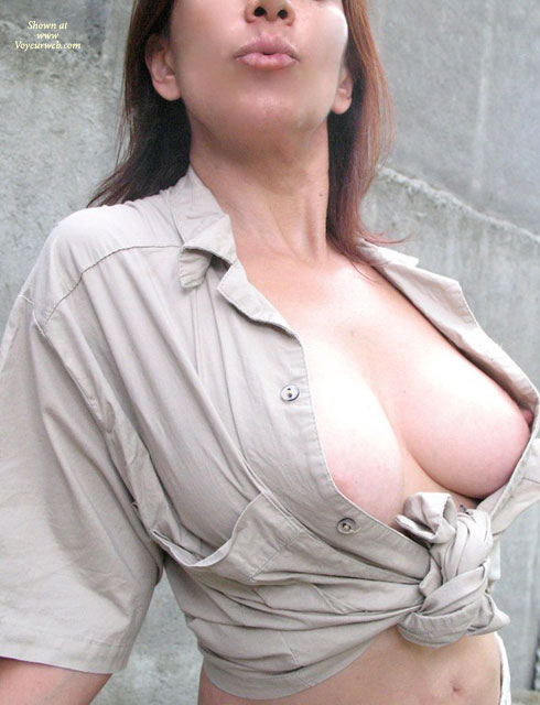 Open Blouse - Brown Hair, Long Hair, Perky Tits , Top Tied Round Waist, Hard And Pround Nipps, Peek A Boo, Beige Cotton Blouse, Nice Curved Titts, Large Shapely Tits, Titty Flash, Perky Nipple