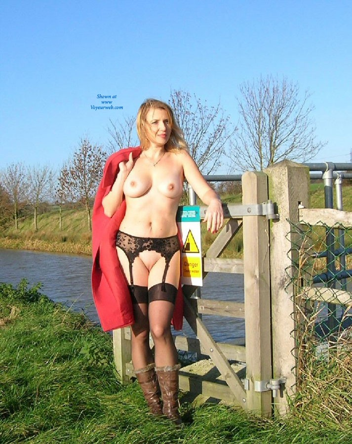 Angler's Delight - Big Tits, Blonde Hair, Flashing, Natural Tits, Pussy Lips, Shaved, Sexy Lingerie , On The Side Of The Canal And In View Of The Anglers, Caroline Brightens Their Day