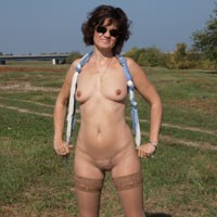 On Tha Meadow - Brunette, Lingerie, Mature, Hard Nipples, Natural Tits, Pussy, Shaved, Small Tits, Tattoos