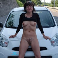 My Car - Brunette, Mature, Public Exhibitionist, Public Place, Pussy, Shaved, Small Tits, Tattoos