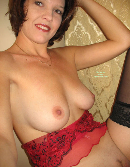 Medium Natural Tits - Erect Nipples, Landing Strip, Natural Tits, Perfect Tits, Stockings, Trimmed Pussy , Pink Nipples, Red Nightie, Semi Erected Nipples, Kicking Back, Swinging 60s Pose, With Hairy Pussy, Cute Smile, Black Thigh High Stockings