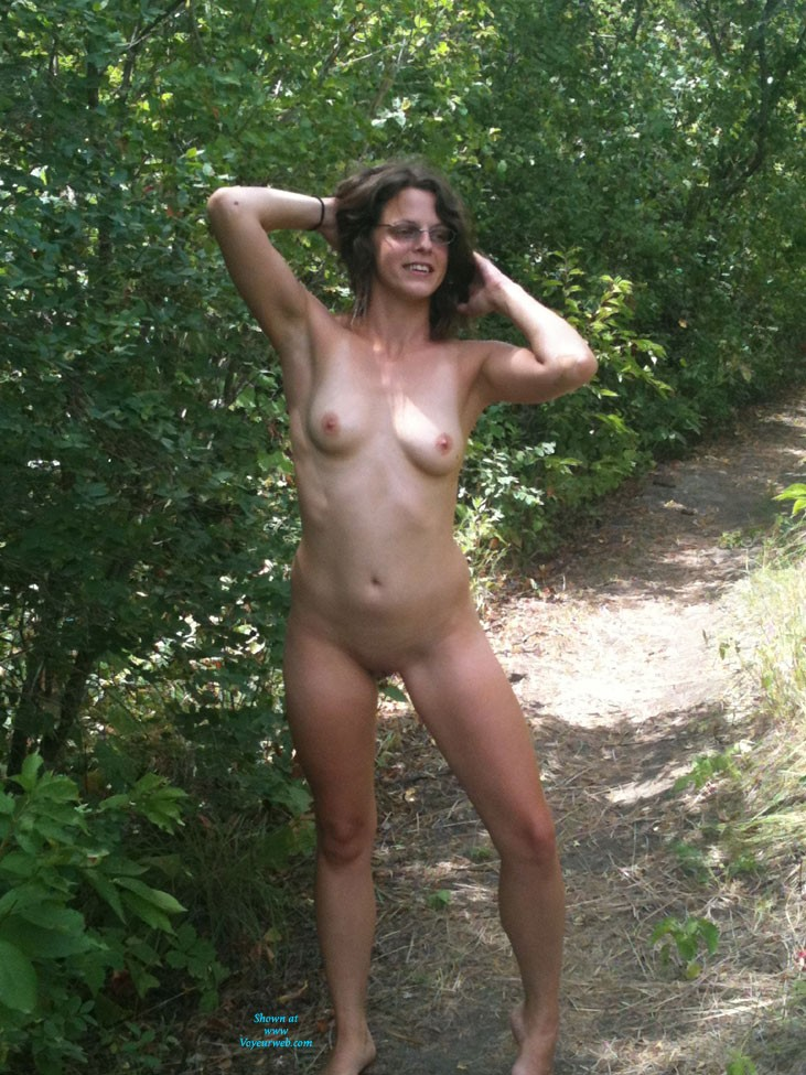 Naughty Outdoors - Brunette Hair, Natural Tits, Shaved, Strip , We Were On A Hike And She Decided Clothing Was Optional...
