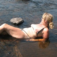 At The River - Big Tits, Blonde Hair, Mature, Beach Voyeur , She Doesn't Think She Is Still Hot At 46.  Please Prove Her Wrong