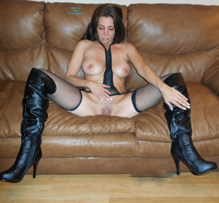 Wouldn't You Love to Taste!! - Big Tits, Brunette Hair, Hairy Bush, Heels, Mature , Just Showing Off For The Hubby!