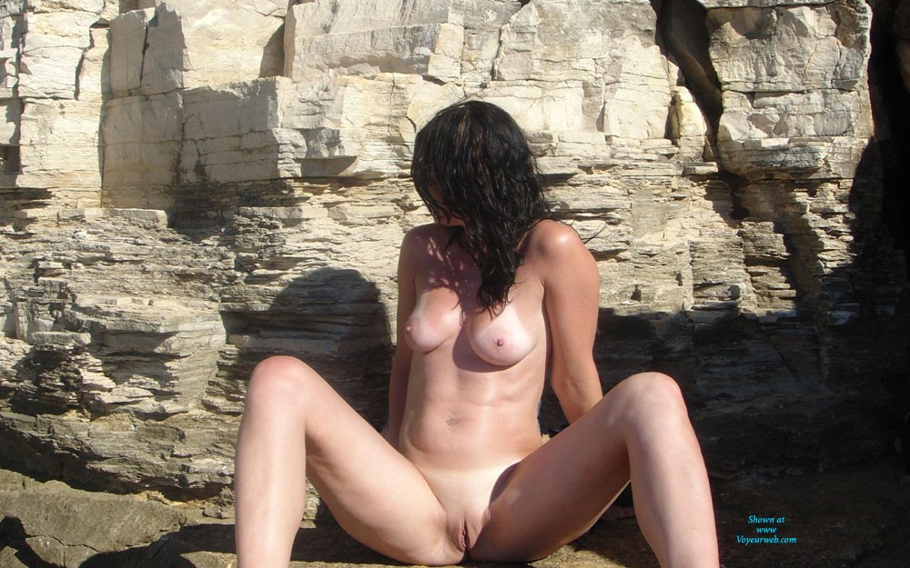 Mom of 3 on Rocks Pt 2 - Big Tits, Brunette Hair, Long Legs, Nude In Public, Round Ass, Shaved , Enjoy ;)