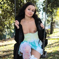 Child Again - Brunette Hair, Natural Tits, Nude Outdoors, Shaved, Sexy Lingerie, Young Woman , The Desire To Return A Little Girl   :-)