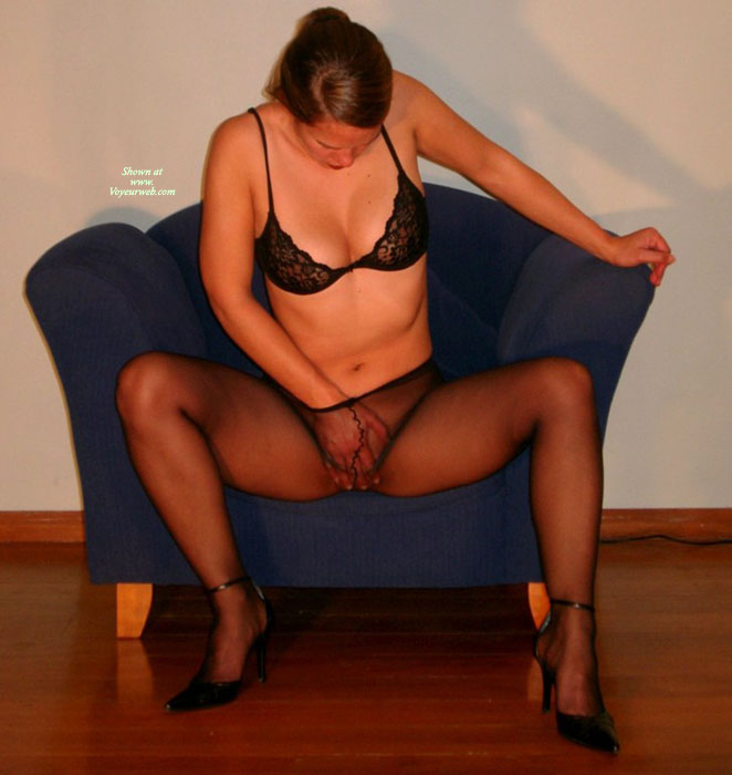 Masturbation Under Pantyhose - Heels , Black Pantyhose, See Through Pantyhose, Black Panyhose, Staring At Pussy, Hand On Pussy In Pantyhose, Hose And Heels, Seated Masturbation Through Sheer Nylons, Itching Pussy, Enjoying Herself, Touch Herself, Black Lace Bra, Seated Masturbation