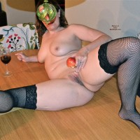 Short Hair Milf in Stockings with Wine and Apple Wearing a Mask - Milf, Shaved Pussy, Stockings, Toys , Milf, Nude, Short Hair, Stockings, Table