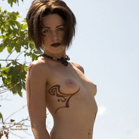 Topless Goth Chick - Dark Hair, Small Tits, Topless, Small Areolas , Tattoo Breast, Posing Outside, Outdoor Tits, Gothic Titty Frame, Freaky Looking Lady, Pink Areolas, Short Dark Hair, Sexy Body Art