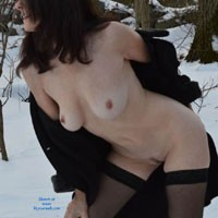 Nude With Coat on a Snow - Big Tits, Brunette Hair, Erect Nipples, Nipples, Nude Outdoors, Trimmed Pussy, Sexy Lingerie , Stockings, Naked, Coat, Snow