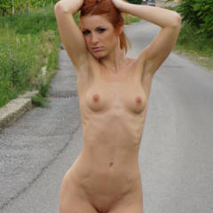 Sweet Exhibitionist Vienna Walking Along A Road Holding Her Hair Up - Exhibitionist, Flashing, Red Hair, Shaved Pussy, Small Tits, Naked Girl, Nude Amateur , Fully-naked Walk, Tiny Tits And Ribs Showing, Very Hot Redhead, Pierced Naval, Hard Body, Pink Areolas, Shaved Red Head