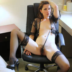 Naked MILF In Black Sexy Lingerie At Hotel Desk - Dark Hair, Erect Nipples, Heels, Long Legs, Milf, Small Breasts, Spread Legs, Stockings, Sexy Lingerie, Sexy Woman , Natural Hairy, Black See Thru Top, Hairy Pussy, Foot Cleage, Arched Foot In High Heel Sandal, Relaxing At The Hotel Office