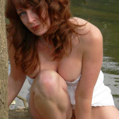 Partial Nude Sexy Milf Crouching By Water - Long Hair, Milf, Red Hair, Naked Girl, Nude Amateur , Red Curly Hair, Posing By The Water With Just Enough Showing, Summer Sun Dress, Necklace, Nipple Peek, Pierced Clitoris Hood, Pierced Pussy, White Halter Top, White Sexy Short Dress, Long Auburn Hair, Hot White Dress, At The Lake, White Strapless Dress