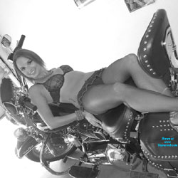Chilling Nude On My Harley - Bra, Heels, Hot Girl, Sexy Body, Sexy Face, Sexy Feet, Sexy Figure, Sexy Girl, Sexy Legs, Sexy Panties, Sexy Woman , Bike , Nude, Undies, Heels, Brunette, Legs