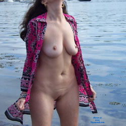 Zeena's Beach Day - Big Tits, Beach Voyeur, Wife/wives , While My Husband And I Were Strolling Down The Beach He Was Taking Pics Of Me. It Feels Good To Be Naked Out In Public.  I Wonder If Anyone In The Boats Had Out Their Binoculars. LOL