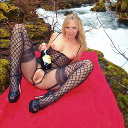 Rosa Responds to Spring - Big Tits, Blonde Hair, Heels, Nude In Public, Sexy Lingerie , Along A Snowmelt Swollen Creek In The Cascades Of Oregon, Rosa Heralds Springtime.