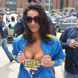 Brewers Opener 2014 - Big Tits, Brunette Hair , When I Went To Opening Day I Ran Into This Hottie Flashing Her Boobs For Singles.  She Agreed To Let Me Take Pictures For A Twenty.  How Could I Refuse??