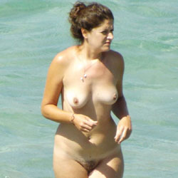 Greek Nudist Spied Upon - Big Tits, Brunette Hair, Hairy Bush, Beach Voyeur , This Girl Bathed Naked Each Day On The Beach - I Just Had To Share Her With You All