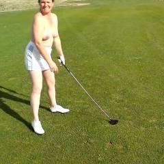 Lost Golf Bet - Big Tits, Brunette Hair, Nude Outdoors, Wife/wives , After Losing Several Bets To Hubby Through Our Round Of Golf. I Had To Play The 18th Fairway Pantyless, Topless, And My Golf Skirt Hiked Up To One Inch Below My Ass. The Group Of Men Behind Us And The Two Men In My Group Made It Very Hard To Concentrate.