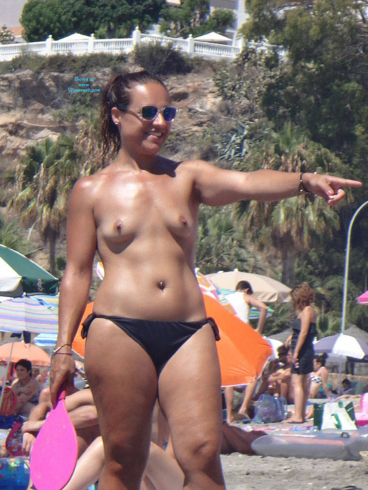 Topless Brunette Enjoying The Beach - July, 2014 - Voyeur -4442