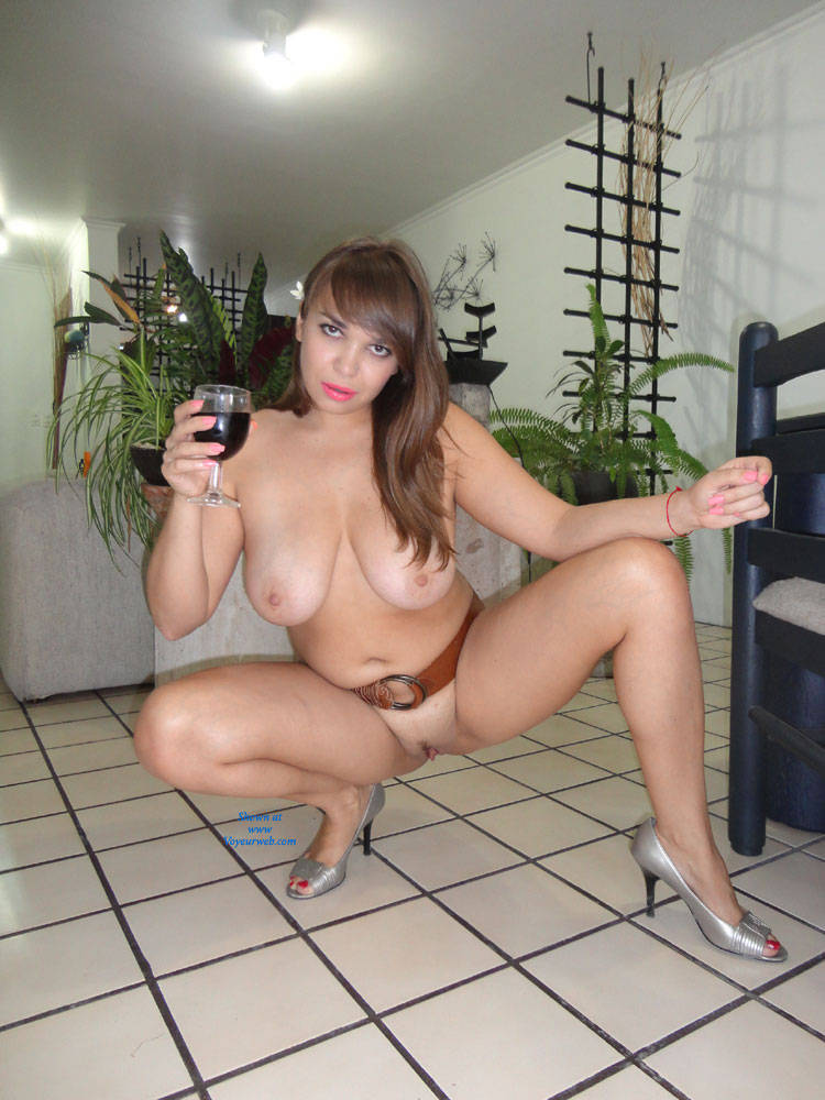 Milf nude at home wine