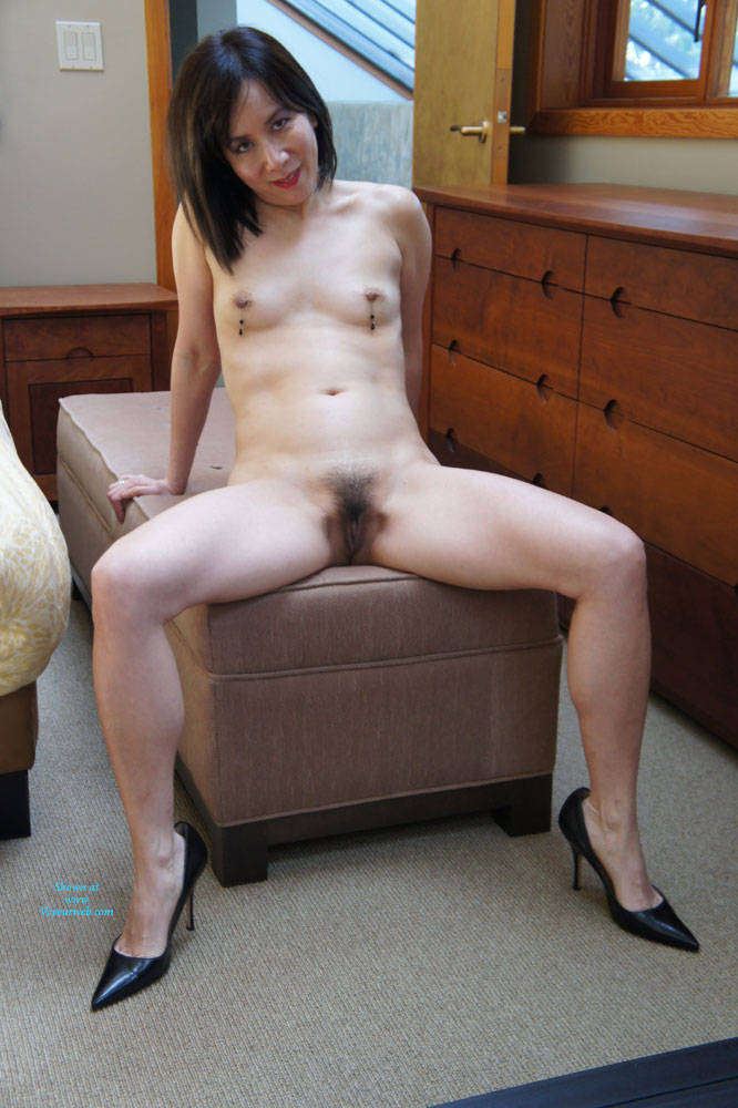 CJ And Her Hairy Bush - Asian Girl, Brunette Hair, Hairy Bush, Heels, Navel Piercing , We Did These Photos In May, Now My Wife Would Like To Show Off Her Body, Hopefully Her Fans Haven't Forgot About Her Tight Little Asian Cunt And Perky Tits.