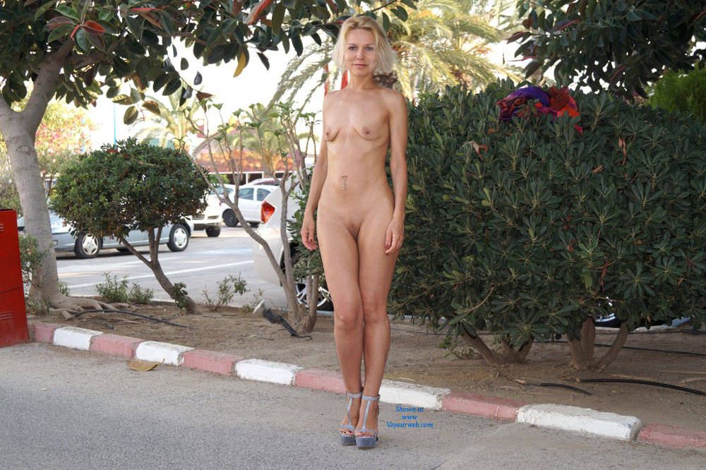 Pic #1Spain - Blonde, Public Exhibitionist, Public Place, Shaved