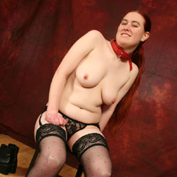 Playing With Backdrop - Big Tits, Redhead, Shaved, Sexy Lingerie , These Are Older Pictures Just Trying Out A New Backdrop.