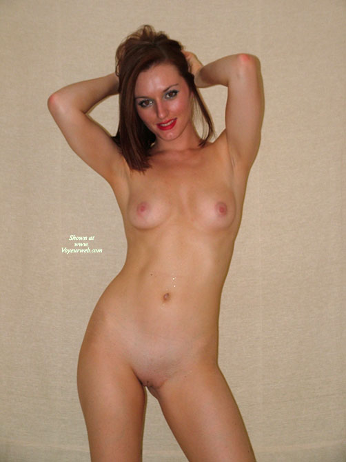 Brunette With B-cup Breasts And Shaved Pussy - Brunette Hair, Shaved Pussy, Small Breasts, Small Tits, Hairless Pussy, Naked Girl, Nude Amateur , Flat Abs, Pink Nipples, Standing With Hands On Head, Small Breasts And Perky Nipples, Slender Physique, Red Lips, Standing Naked With Arms Behind Head, Indoor Full Nude