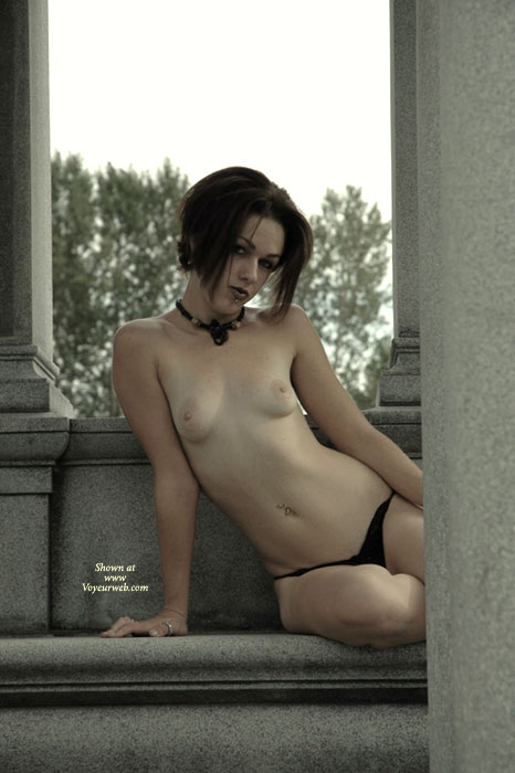Small Breasts - Flashing, Pale Skin, Small Breasts, Small Tits, Topless , Pale Skin, Topless In Public, Goth, Monument Flashing, Breasts And Belly Exposed, Slender Arms, Thin Body, Topless On Granite, City Tramp, Black G-string, Black Leather Choker, Sitting Topless On Bench, Slender Petite