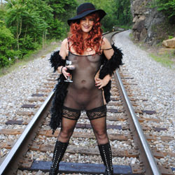 Having Fun - Heels, Redhead, Sexy Lingerie , The Train Track