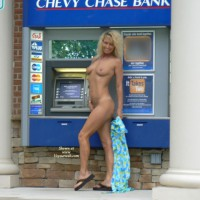 Nude Girl In Front Of ATM - Blonde Hair, Nude In Public, Small Tits, Naked Girl, Nude Amateur , Standing Nude In Front Of Atm, Smiling, Blonde Atm Flash, Holding Her Clothes, Naked Girlfriend, Sandals, Atm Girl