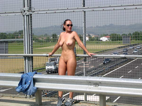 Nude Freeway Overpass - Nude In Public , Nude Freeway Overpass, Public Nudity, Denim Shirt, Wearing Trainers
