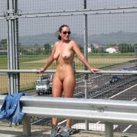 Nude Freeway Overpass - Nude In Public , Nude Freeway Overpass, Public Nudity, Denim Shirt, Wearing Trainers