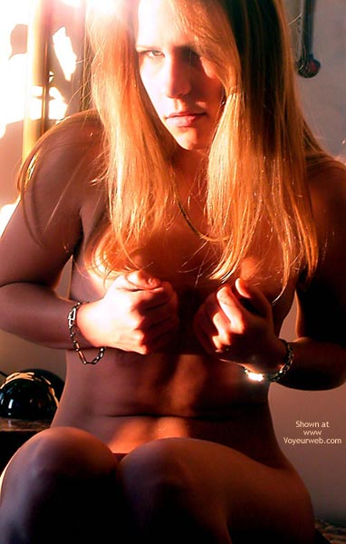 Looking At Camera - Artistic Nude, Red Hair, Looking At The Camera , Looking At Camera, Hands Covering Breats, Artistic Lighting, Red Hair, Squeezing Breasts, Sun On Hair