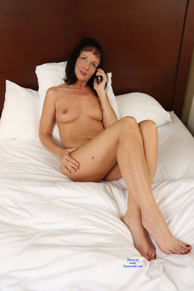 Pic #1Abby's Fun In The Nude Phone Session - Shaved, Brunette, Big Tits