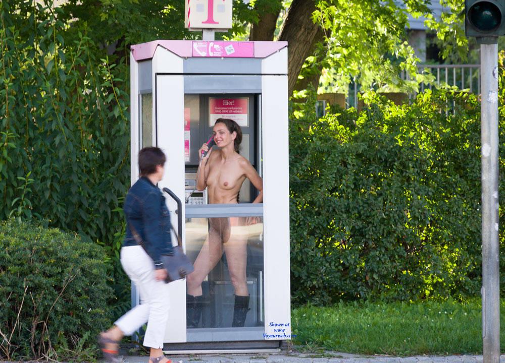 Pic #1Phone Call - Brunette, Flashing, Public Exhibitionist, Public Place