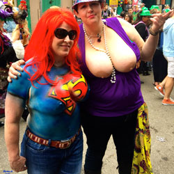 2015 Mardi Gras - Big Tits , Body Paint, Mardi Gras, Naked, Nude, Painted Tits