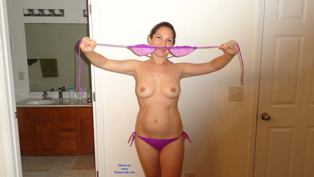 Pic #1Trying New Bikini - Natural Tits, Medium Tits, Brunette, Shaved
