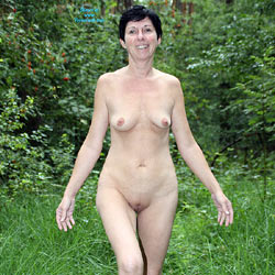 A Little Walk In The Woods - Brunette Hair, Nude In Public, Shaved , Outdoors, Nude, Brunet, Walking Naked