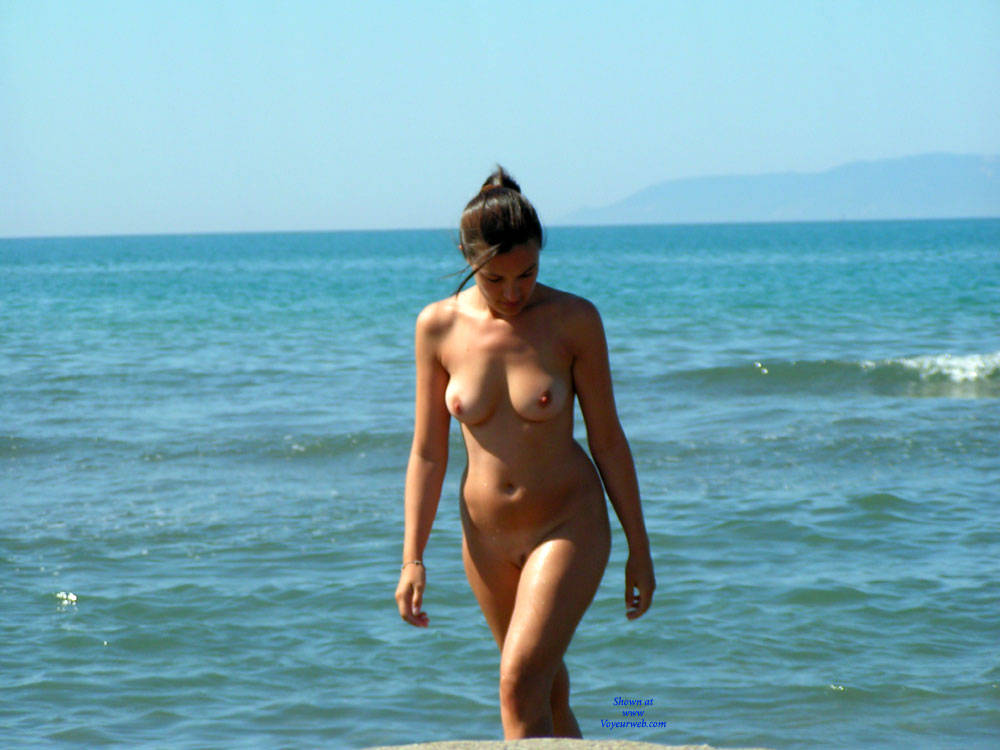 Nude Beach - Big Tits, Brunette Hair, Beach Voyeur , Nude Beach, Natural Breasts, Brunette Hottie, Sexy Babes