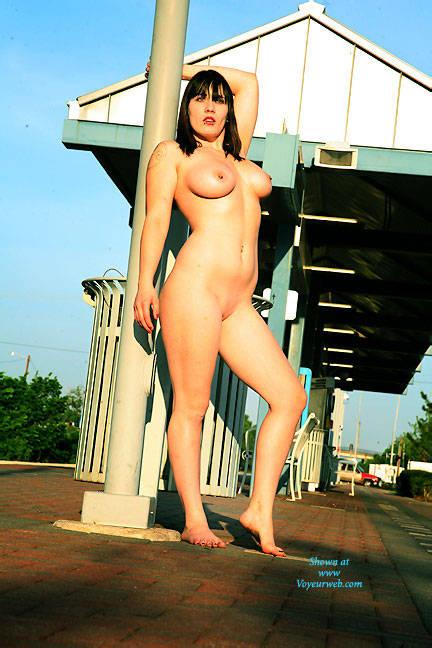 Pic #1Waiting For The Train - Big Tits, Brunette, Public Exhibitionist, Public Place