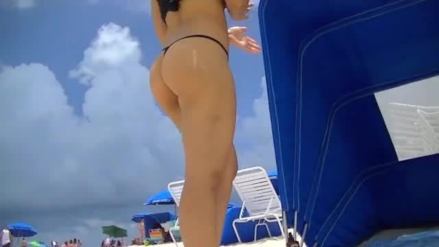 Pic #1Nikki Brazil Doesnt Wear Much At The Beach! - Beach Pussy, Firm Ass, Brunette, Big Tits, Beach, Micro Thong