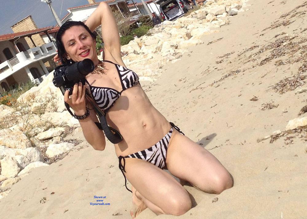 Pic #1Brunette Legs - Beach, Bikini Voyeur, Brunette