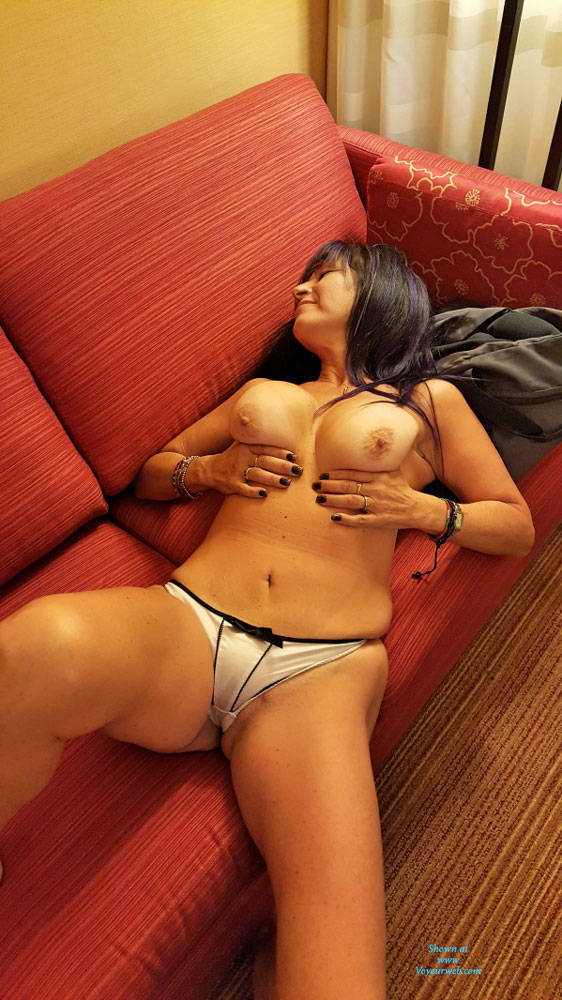 Pic #1Wife In Hotel Couch - Big Tits, Brunette, Lingerie, Wife/wives