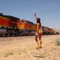 Brunette Flashing A Train
