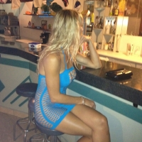 New Blue Dress - Blonde, Public Exhibitionist, Public Place