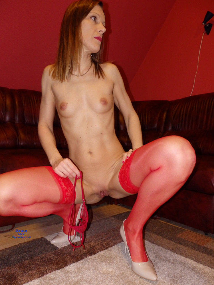 Pic #1Monika In Red - Medium Tits, Lingerie, High Heels Amateurs, Shaved