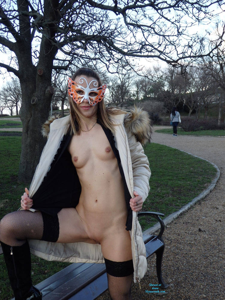 Pic #1Winter Walking - Flashing, Medium Tits, Public Exhibitionist, Public Place, Shaved