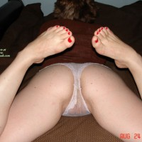 Sexy Toes , Red Top With White Sheer Panties, Laying On Stomach, Ass Shot With Panties, Butt On A Bed, See Through Panties, Painted Sexy Toes, Lying On Her Belly, Sexy Feet, White See Thru Panties, Hidden Camel Toe, Pointed Painted Toes, Crotch Shot With Panties
